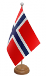 Norway Desk / Table Flag with wooden stand and base